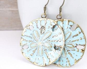 Beach Jewelry Sand Dollar Earrings Bohemian Boho Chic Beach Wedding Light Turquoise Blue Distressed Weathered Ocean Aqua Accessories Women