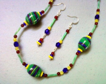 Colorful Blue, Green, Red and Yellow Necklace and Earrings (0495)