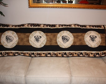 Pug Black and Fawn Exquisite Wallhanging or Bedrunner Quilt