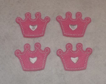 Ready to ship Feltie Machine Embroidered Hand made (4) Felt Princess Crown CUT Embellishments / appliques