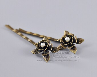 Flower hair pin Rose hair pin Vintage style Antique bronze Flower Bobby Pin Rose Hair clip Natural Woodland wedding Bridal Hair Accssories