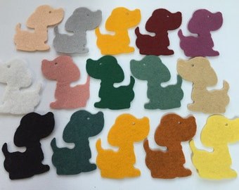 Wool Felt Dog Die Cuts 15 Count - Random Colored 2628 - Felt Animals - Felt for Kids - Feltboard