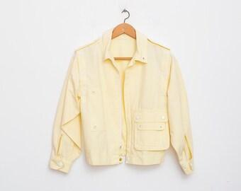 80s NOS vintage  jacket vest yellow