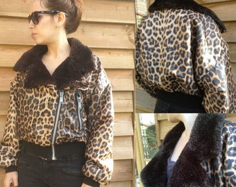 90s French VTG leopard bombers jacket