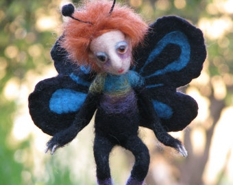 Needle felted Waldorf inspired art doll Butterfly boy