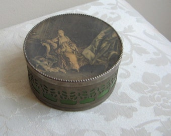 Vintage Bath Powder Box With French Woman Portrait Silver Tin & Green Celluloid, D.R.O.M. Demray Fifth Avenue New York, Romantic Art Nouveau