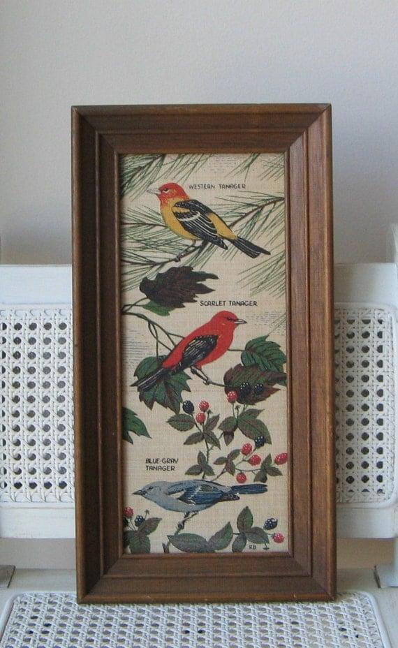 Vintage Birds Art Print on Linen by Kay Dee Handprints USA, R. Batchelder Wood Frame Wall Art, Tanager Birds Study Ornithology, Naturalist