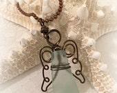 Sea Glass Angel Pendant - Seaglass Jewelry - Mermaid Tears - Beach Glass Jewelry - Guardian Angel - Angel Suncatcher