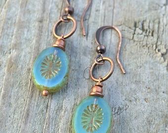 Small Earrings, Blue Glass Earrings, Copper Dangle Earrings