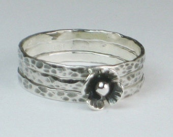 Flower Ring Sterling Silver Stacking Hammered Set of 3