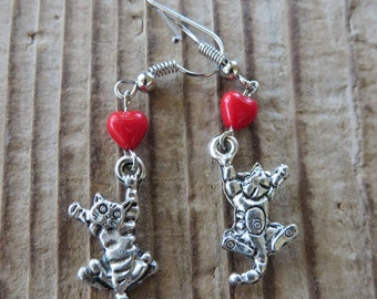 Dangling Silver Kitties with Red Hearts Earrings