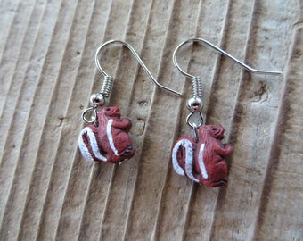Cute Hand Painted Clay Red Squirrel Earrings