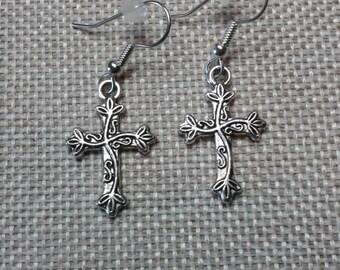 Silver Cross Charm Earrings