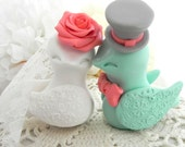 Love Birds Wedding Cake Topper, White, Coral, Mint Green and Grey, Bride and Groom Keepsake, Fully Customizable