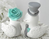 Wedding Cake Topper, Love Birds, Ivory, Robins Egg Blue and Grey, Bride and Groom Keepsake