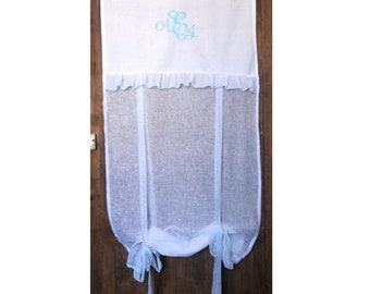 """White French Linen Window Curtain, Turquoise Embroidered Monogram, Sheer Ruffle Roller Shade, Bathroom Tie up Panel, 28"""" Length"""