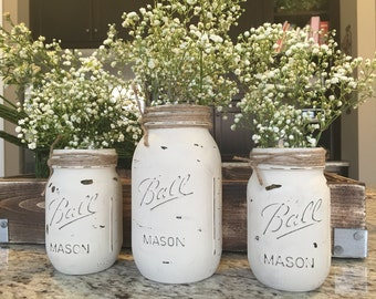 Painted mason jars set of 3