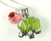Exclusive STAINLESS STEEL Lime Green Elephant Jewelry Genuine Sea Glass Necklace With Swarovksi Heart Animal Jewelry Custom Handmade Jewelry