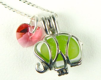 Exclusive STAINLESS STEEL Lime Green Elephant Jewelry Genuine Sea Glass Necklace With Swarovksi Heart Animal Jewelry Custom Handmade Jewelry