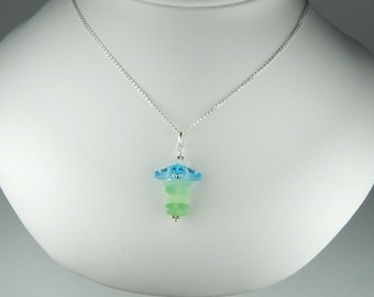 GENUINE Sea Glass Necklace Lily Pendant Flower Jewelry Sterling Silver