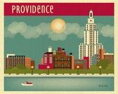 Providence, Rhode Island Print, RI Skyline Art Print, Providence Art Print Horizontal, Rhode Island Wall Living Room Print - style E8-O-PRO