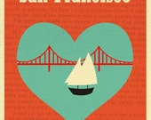 San Francisco Skyline Heart  Art Print Poster, SF Bay Heart Wall Decor, Loose Petals Art Gift for nursery, valentines  - style E8-O-SF16