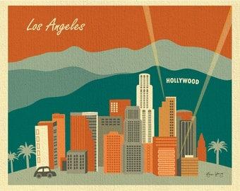 Los Angeles Skyline, Hollywood Wall Art, Hollywood Poster, California Retro Print,  horizontal Los Angeles art Orange/Rust print, E8-O-LA3
