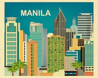 Manila Philippines Art Print, Manila Skyline, Philippines Travel Poster, Manila Horizontal print, Makati Art, Manila Baby - style E8-O-MAN
