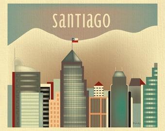 Santiago skyline art print, Andes skyline, Chile Travel Wall Art, Santiago Gift, Santiago Nursery, Loose Petals City Art - style E8-O-SANT