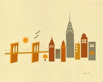 New York City Skyline Print, NYC Wall Art map, Brooklyn Bridge Print, NYC Wall poster, New York City Art Print, Loose Petals  style E8-O-NY5