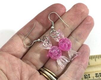 Pink Sugar Christmas Candy Repurposed Christmas Ornament Earrings - Christmas Earrings - Charm Earrings
