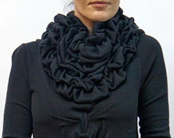 Scarf ,black skarf, 3D pattern, dark scarf ,knitted scarf ,scarf to match loose dress D37