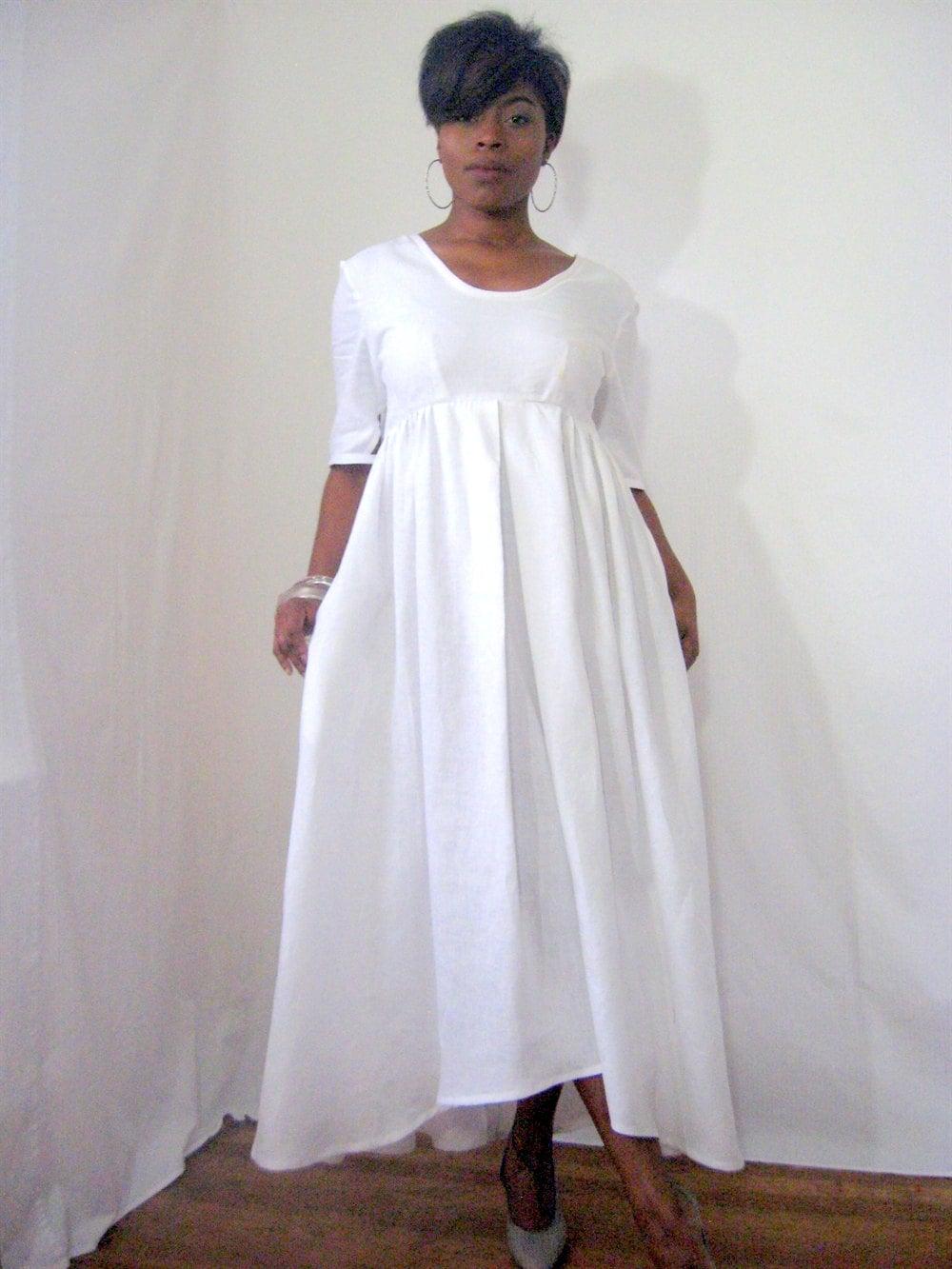 White Linen Dress Uneven Hemline Short Sleeves Geometric