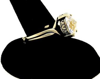 Antiqued Brass Ring with Gold Speckled Swarovski Crystal