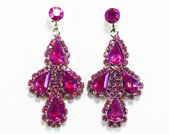 Pink Hand Dyed Rhinestone Earrings