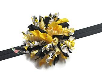 Bumble Bee Korker Hair Bow Headband, Korker Bow, Girl Hair Bow, Korker Hair Clip, Baby Girl Hair Bow, Toddler Hair Bow, Baby Hair Bow, 809