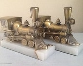 Vintage Cast Brass Bronze Train Locomotive Bookends, Metal and Marble Train Book Ends, Bronze and Marble Bookends, Vintage Train
