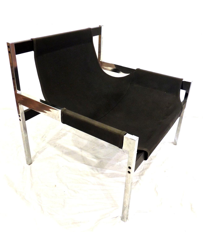 Brilliant Vintage Chrome Sling Chairs 1960S Milo Baughman Large Evergreenethics Interior Chair Design Evergreenethicsorg
