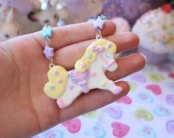 Fairy Kei Carousel Pony Necklace Yellow