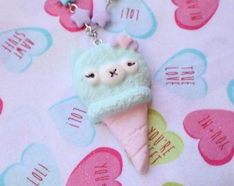 Kawaii Alpaca Ice Cream Cone Necklaces Cotton Candy Light Blue  X Pink
