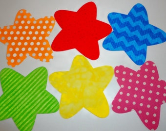6 Iron On Applique Assorted CHUNKY STARS