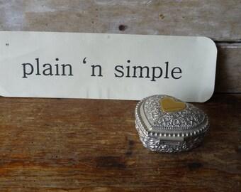 Vintage Metal Jewelry or Trinket Box Heart Box