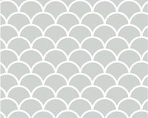 Vinyl wallpaper. Self-adhesive -  white arches on light grey (TAMAR)
