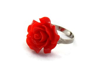 Large Red Rose Adjustable Ring - Pinup, Rockabilly, Retro