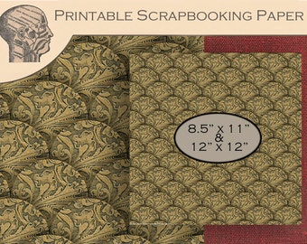 Printable Digital Scrapbooking Graphics Paper Antique Fish Scale Gold Leaf Paper Scalloped Background Instant Download