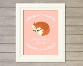 Sleep Tight Little One Nursery Wall Art Printable Fox Woodland Critters Pink - 8x10- Instant Download Print Forest Baby Girls Room Decor