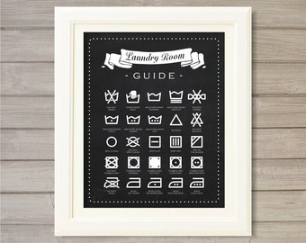Laundry Room Guide Wall Art Printable Blackboard Faux Chalk Art - 8x10- Instant Download Print Poster Washing Home Room Interior Decor
