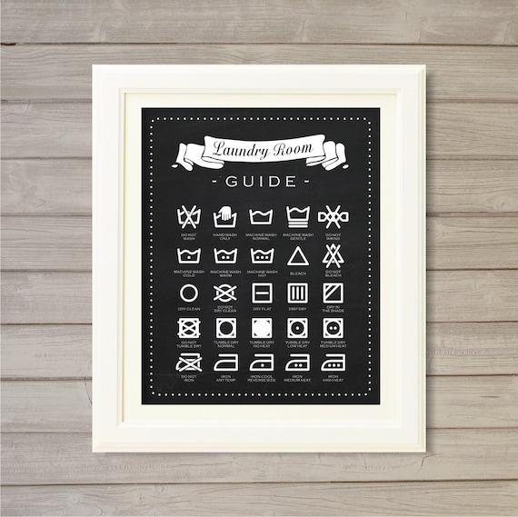 Buanderie salle Guide Wall Art imprimable Blackboard Faux by ...