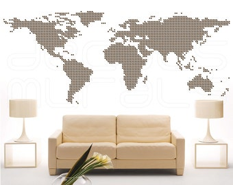 Wall decal Connected DOTS WORLD MAP Surface graphics interior decor by Decals Murals (45x115)