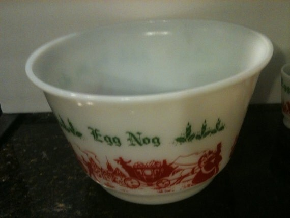 Vintage Egg Nog Bowl with 6 cups by PoisonAppleVintage on Etsy